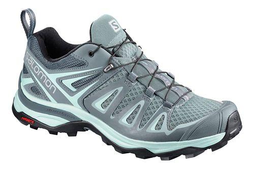 Womens Salomon X Ultra 3 Hiking Shoe - Grey/Blue 9.5