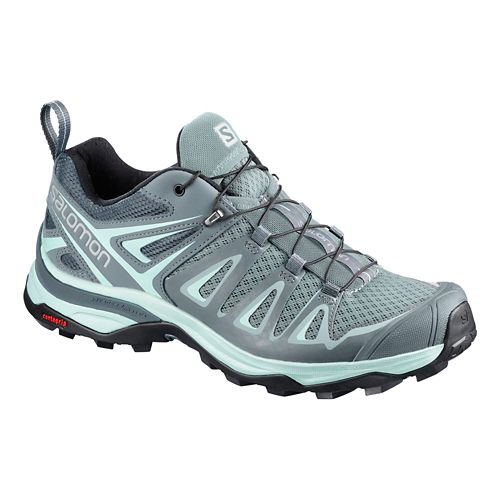 Womens Salomon X Ultra 3 Hiking Shoe - Grey/Blue 5.5