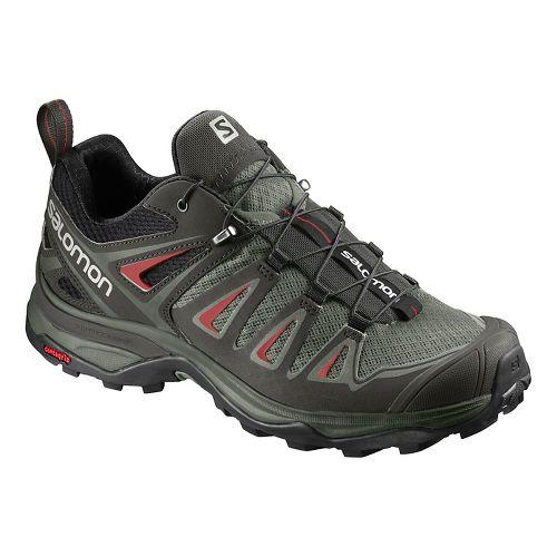 Womens Salomon X Ultra 3 Hiking Shoe - Grey/Red 9