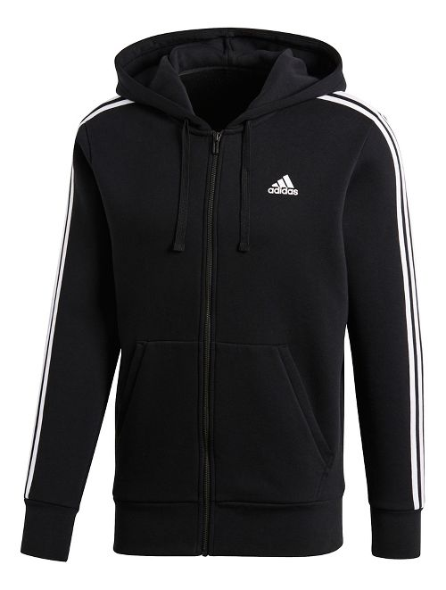 Mens adidas Essentials 3-Stripes Fleece Half-Zips & Hoodies Technical Tops - Black/White M