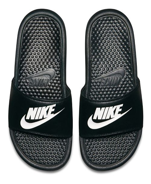 Mens Nike Benassi Sandals Shoe - Black/White 11