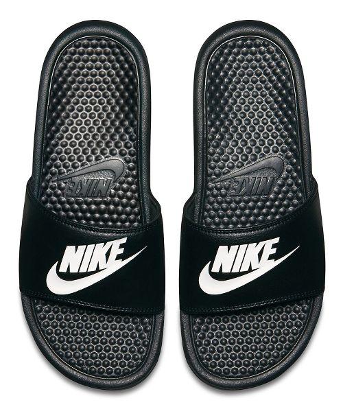 Mens Nike Benassi Sandals Shoe - Black/White 13