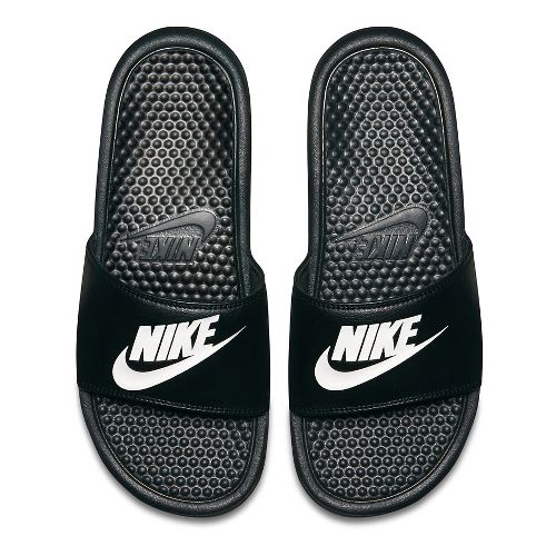 Mens Nike Benassi Sandals Shoe - Black/White 10