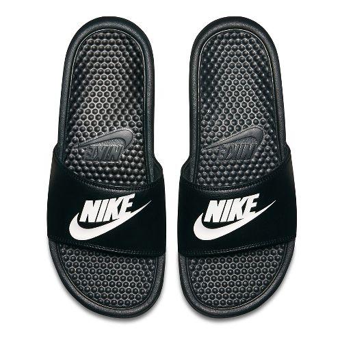 Mens Nike Benassi Sandals Shoe - Black/White 11