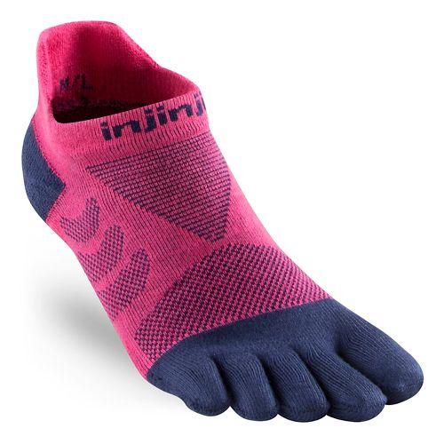 Womens Injinji Ultra Run No Show CoolMax Socks - Pink XS/S