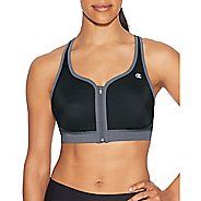Womens Champion The Absolute Zip Sports Bras - Black/Medium Grey M