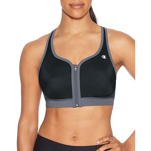 Womens Champion The Absolute Zip Sports Bras - Black/Medium Grey XL