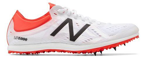 Womens New Balance LD5Kv5 Track and Field Shoe - White/Flame/Black 10