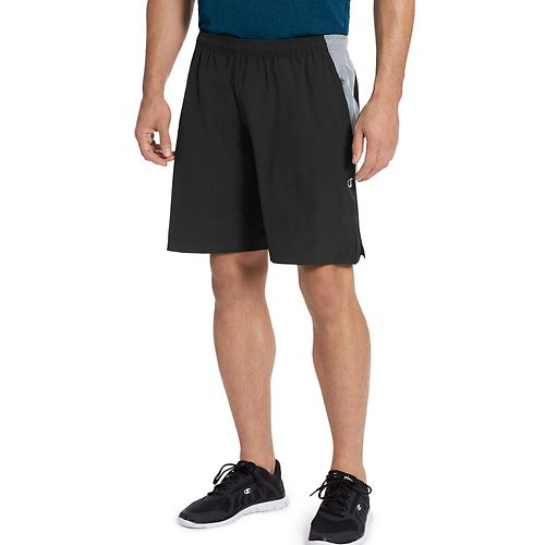 Mens Champion 365 Train Unlined Shorts - Black/Concrete M