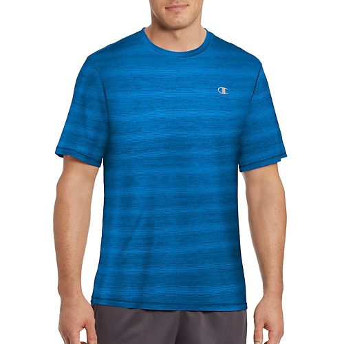 Mens Champion Vapor Heather Stripe Tee Short Sleeve Technical Tops - Running Waves/Heather XL