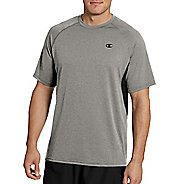 Mens Champion Vapor Heather Tee with Vent Short Sleeve Technical Tops - Oxford Grey/Black S