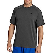 Mens Champion Vapor Heather Tee with Vent Short Sleeve Technical Tops - Stealth Heather/Black M