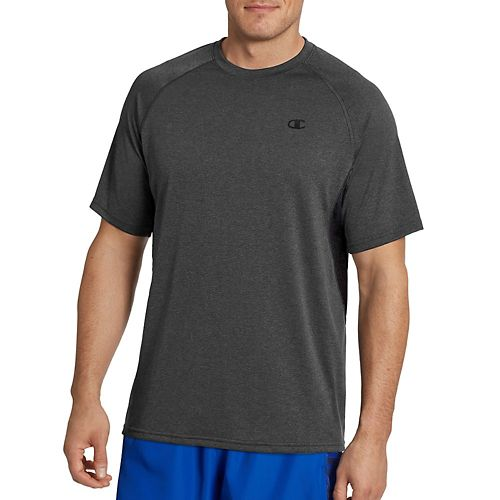 Mens Champion Vapor Heather Tee with Vent Short Sleeve Technical Tops - Stealth Heather/Black L