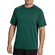 Mens Champion Vapor Heather Tee with Vent Short Sleeve Technical Tops - Forest Heather/Black L