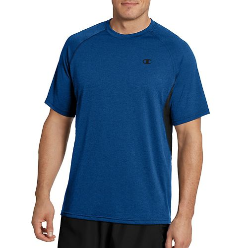 Mens Champion Vapor Heather Tee with Vent Short Sleeve Technical Tops - Winter Teal/Black L