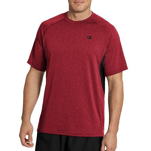 Mens Champion Vapor Heather Tee with Vent Short Sleeve Technical Tops - Red Heather/Black L