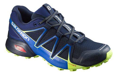 Mens Salomon Speedcross Vario 2 Trail Running Shoe - Navy/Lime 9