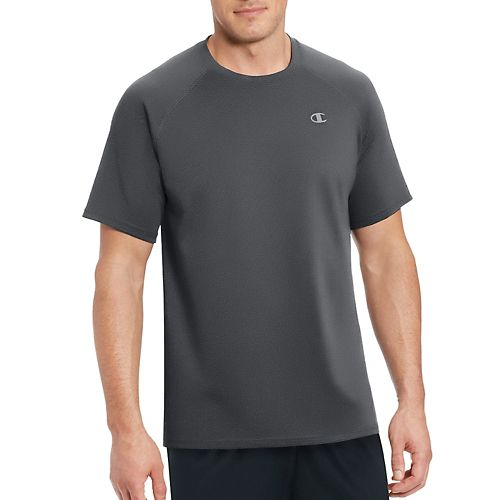 Mens Champion Vapor Select Tee Short Sleeve Technical Tops - Shadow Grey/Black S