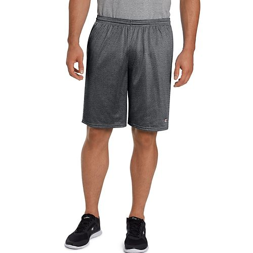 Mens Champion Long Mesh with Pockets Unlined Shorts - Granite Heather L