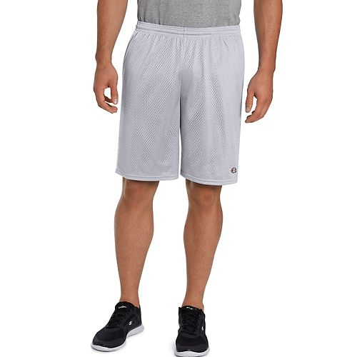 Mens Champion Long Mesh with Pockets Unlined Shorts - Athletic Grey M