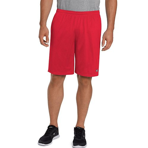 Mens Champion Long Mesh with Pockets Unlined Shorts - Crimson XL