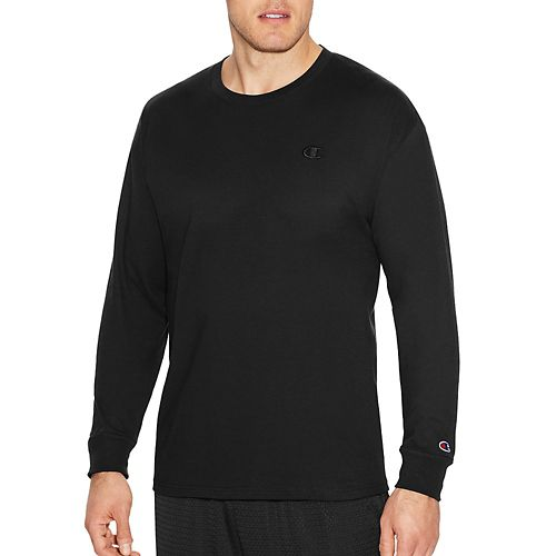 Mens Champion Classic Jersey Tee Long Sleeve Technical Tops - Black L