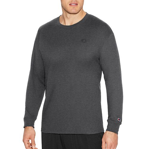Mens Champion Classic Jersey Tee Long Sleeve Technical Tops - Granite Heather S