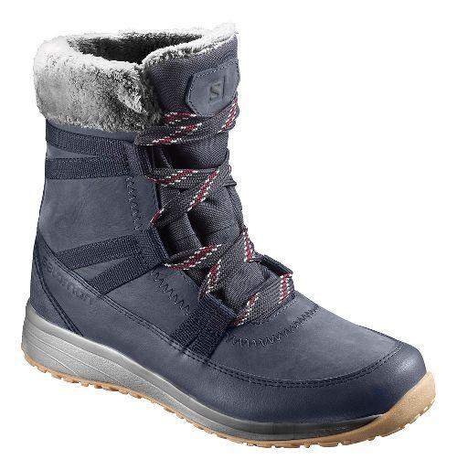 Womens Salomon Heika LTR CS WP Hiking Shoe - Navy/Red 8.5