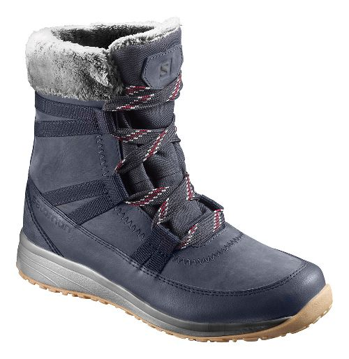 Womens Salomon Heika LTR CS WP Hiking Shoe - Navy/Red 9.5