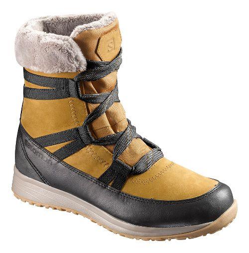 Womens Salomon Heika LTR CS WP Hiking Shoe - Gold/Black/Kaki 8