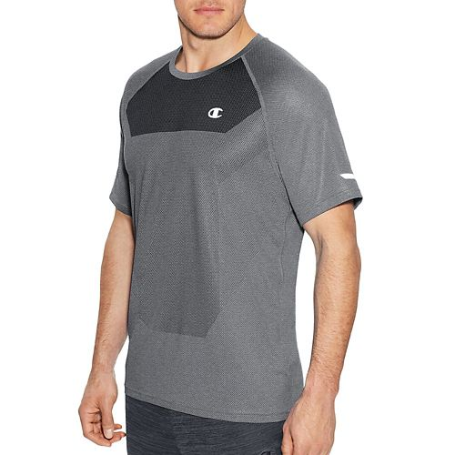 Mens Champion Outdoor Training Tee Short Sleeve Technical Tops - Oxford Grey XXL