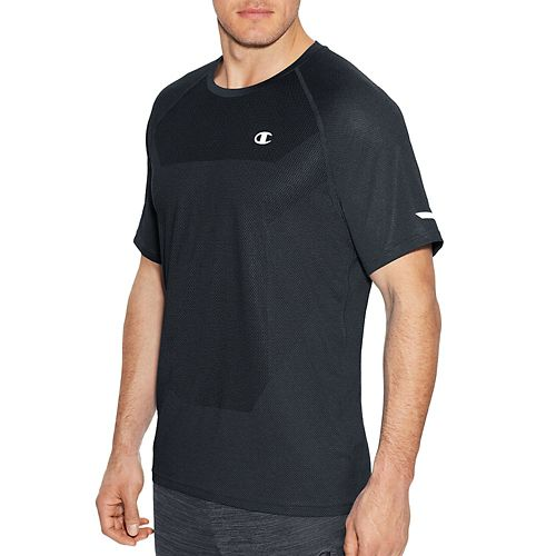 Mens Champion Outdoor Training Tee Short Sleeve Technical Tops - Stealth Heather XL
