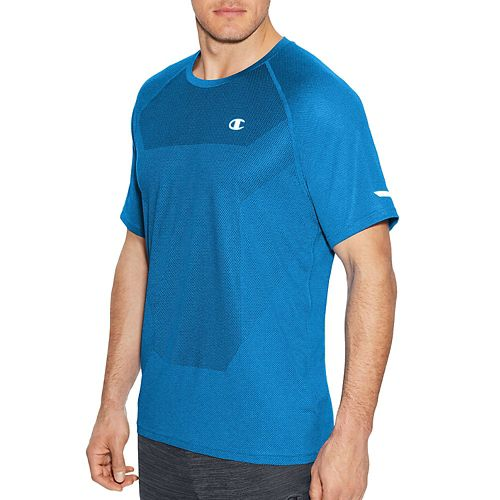 Mens Champion Outdoor Training Tee Short Sleeve Technical Tops - Running Waves/Heather M