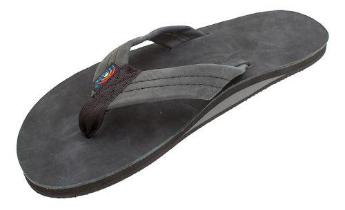 Mens Rainbow Single Layer Premier Leather Sandals Shoe - Premier Black S