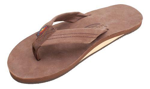 Mens Rainbow Single Layer Premier Leather Sandals Shoe - Expresso M