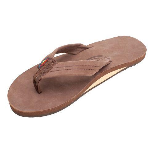 Mens Rainbow Single Layer Premier Leather Sandals Shoe - Expresso XXL