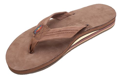 Mens Rainbow Double Layer Premier Leather Sandals Shoe - Expresso S