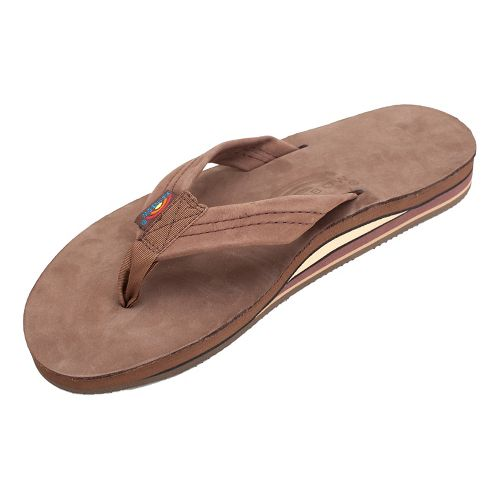 Mens Rainbow Double Layer Premier Leather Sandals Shoe - Expresso L
