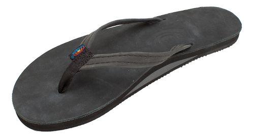Womens Rainbow Single Layer Narrow Premier Leather Sandals Shoe - Premier Black L