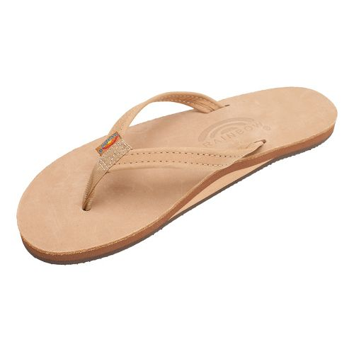 Womens Rainbow Single Layer Narrow Premier Leather Sandals Shoe - Sierra Brown M