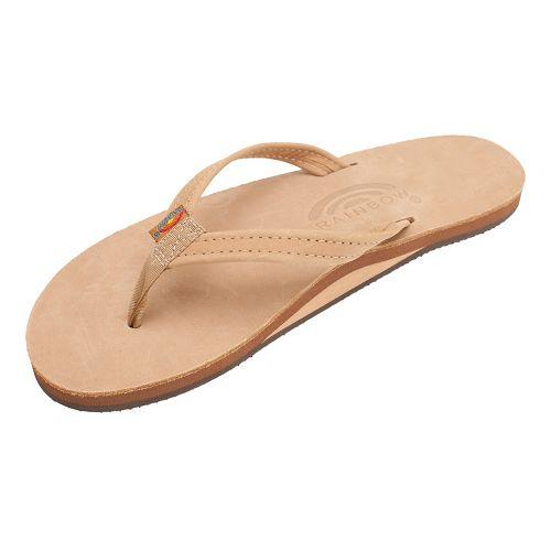 Womens Rainbow Single Layer Narrow Premier Leather Sandals Shoe - Sierra Brown S