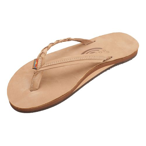 Womens Rainbow Flirty Braidy Premier Leather Sandals Shoe - Sierra Brown L