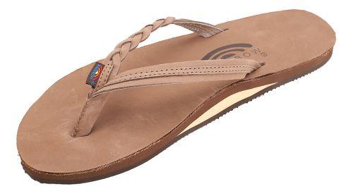 Womens Rainbow Flirty Braidy Premier Leather Sandals Shoe - Dark Brown L
