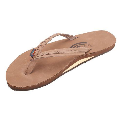 Womens Rainbow Flirty Braidy Premier Leather Sandals Shoe - Dark Brown S