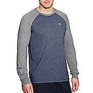 Mens Champion C Vapor Cotton Tee Long Sleeve Technical Tops - Navy/Oxford Grey M