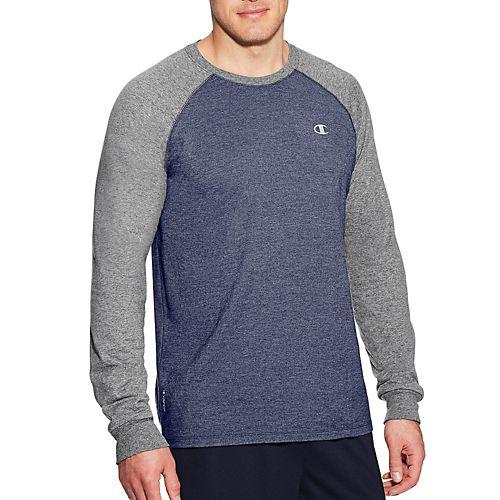 Mens Champion C Vapor Cotton Tee Long Sleeve Technical Tops - Navy/Oxford Grey XXL