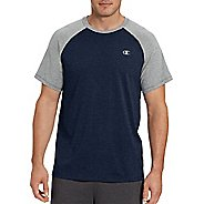 Mens Champion C Vapor Cotton Tee Short Sleeve Technical Tops - Champ Navy/Oxford XL
