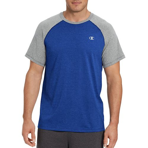 Mens Champion C Vapor Cotton Tee Short Sleeve Technical Tops - Surf The Web/Oxford L