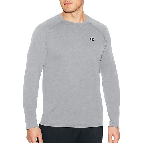 Mens Champion C Vapor Select Tee Long Sleeve Technical Tops - Oxford Grey L