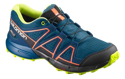 Kids Salomon Speedcross CSWP J Trail Running Shoe - Blue/Poseidon/Ibis 2Y